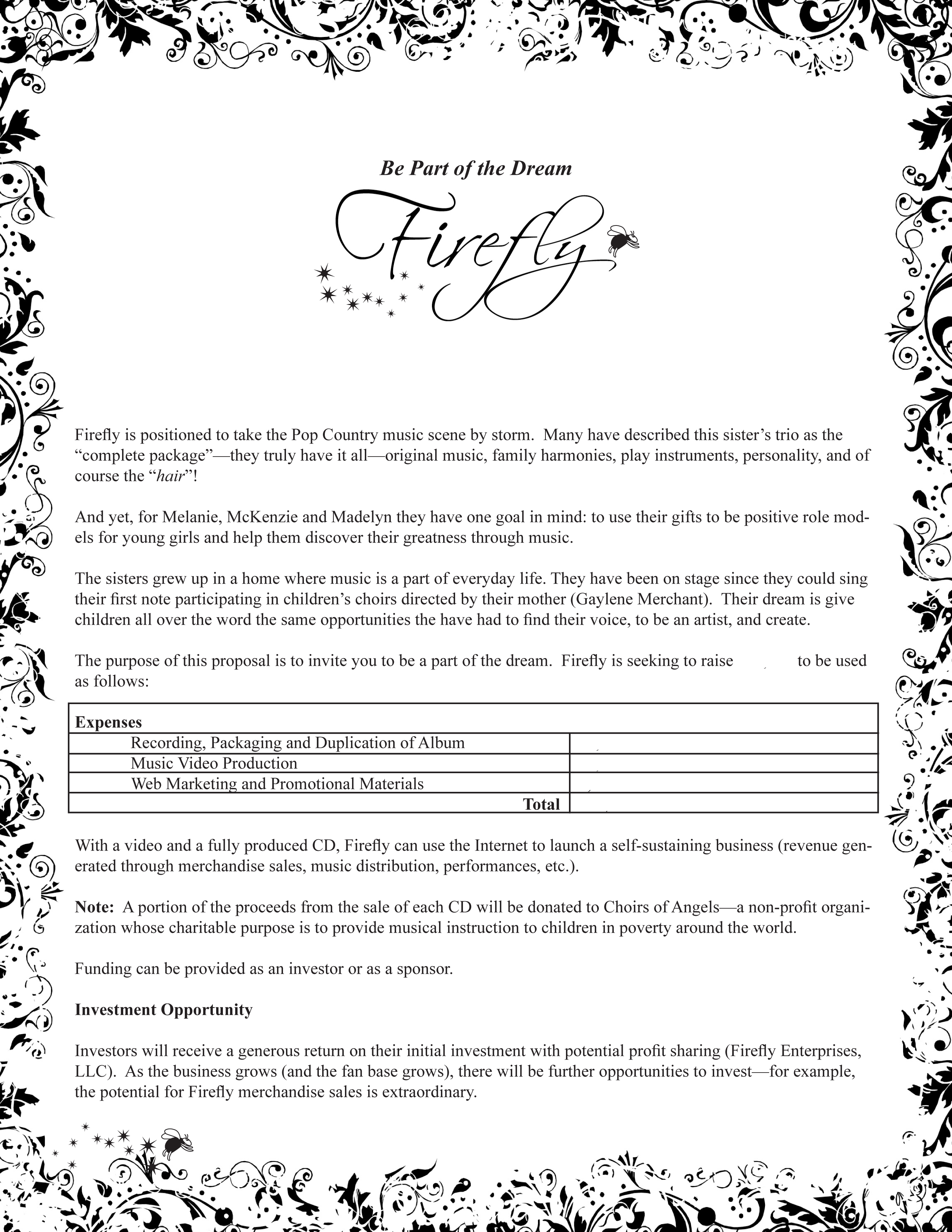 Firefly Fundraising Proposal Page 1 of 2